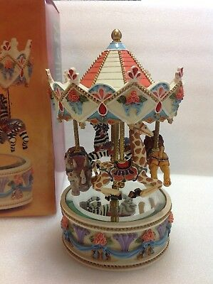 """Vintage Animated Moving Musical Carousel """"True Love"""" Melody. RARE!"""