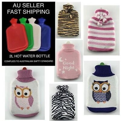 2L Hot Cold Water Bottle Warmer Heat Pack Bag Therapies Soft Natural Rubber