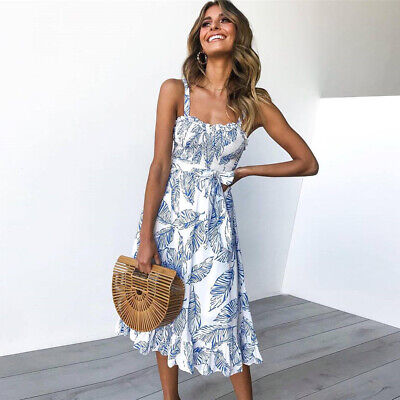 Women Boho Leaves Print Midi Dress Vacation Sleeveless Strappy Beach Sun Dress