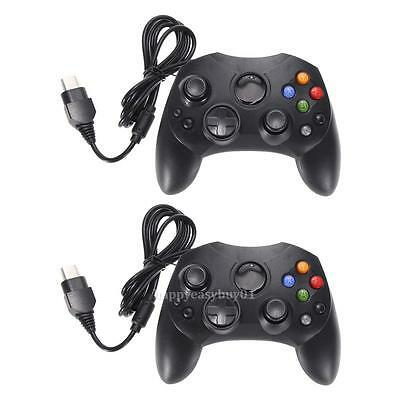 2 X Dual Shock Black Wired Game Pad Controller For Microsoft Original Xbox PC