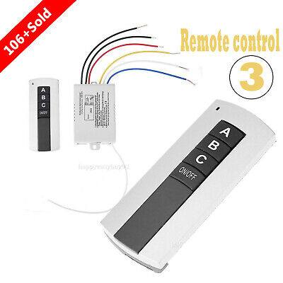 220V 3 CH Channel Wireless Digital Remote Control Switch for LED Lamp Light Fan