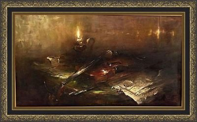 Vintage Russian signed original oil canvas impressionism painting still-life
