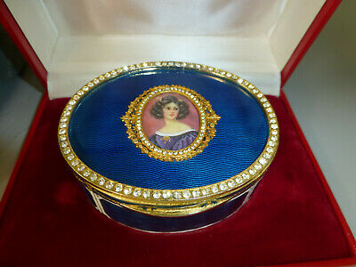 Vintage 80s Swiss Reuge Guilloche Enamel Musical Jewelry Box (Watch The Video)