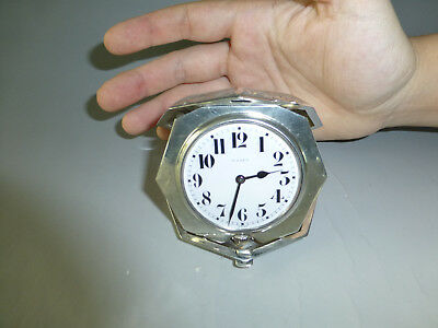 Antique Swiss Engraved Sterling Silver 8 Day 15 Jewel Mechanical Wind Up Clock