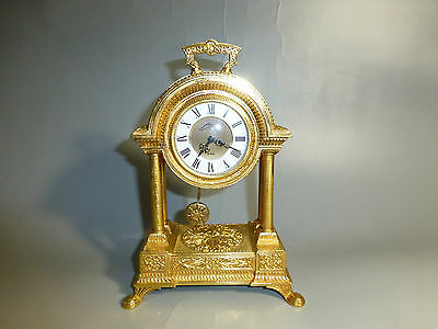 Antique German Gold Gilt Metal Case Mechanical Carriage Swing Pendulum Clock