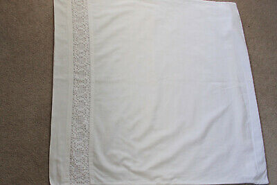 Vintage large European white cotton pillow case with white crochet insert.