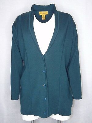 Classiques Petites Small-Large Wool Teal Button Cardigan