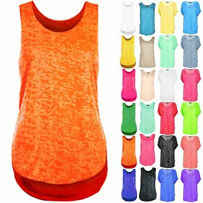 Womens Burn Out Gym Racer Vest Ladies Casual Neon Loose Tank Top Plus Size 8-26