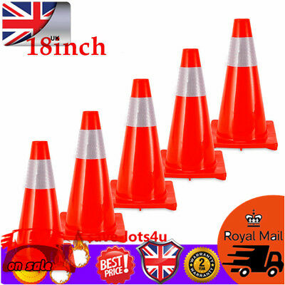 5× 18'' (450mm) Traffic Cones Road Safety Cone Fluorescent Red Reflective Collar