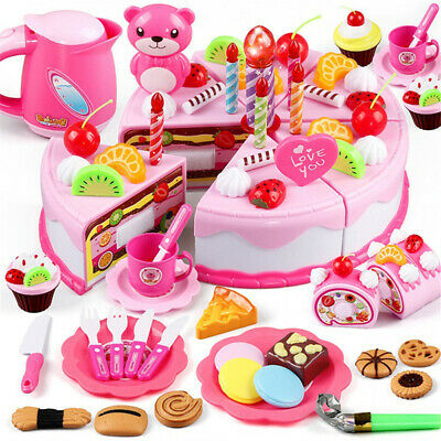 38/55/80Pcs Baby Kitchen Toys Pretend Play Cutting Toy Kids Cake Play Food Gifts