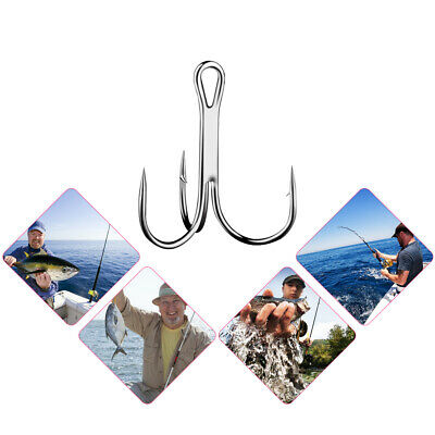 100 Pcs Durable High Carbon Steel Fishing Sharpened Barbed Treble Hooks 8 Size