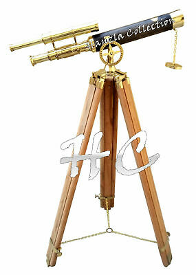 "Marine Navy Brass Nautical Double Barrel Telescope 40"" With Wooden Tripod Stand"