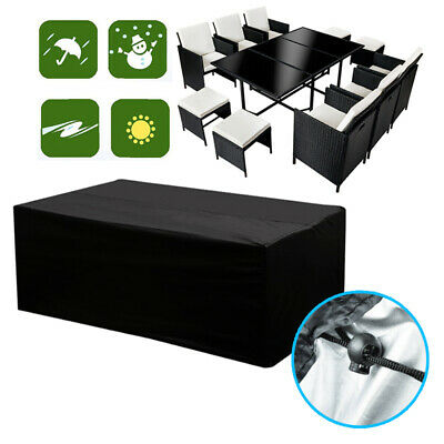 Extra Large Garden Rattan Table Modular Corner Sofa Furniture Set Rain UV Cover
