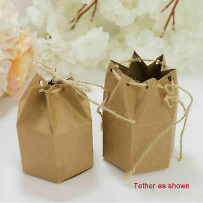 50/100 Pcs Luxury Rustic Wedding Favor Favor Sweet Hex Cake Gift Candy Boxes UK