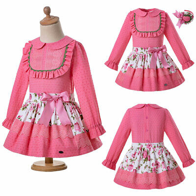 Girls Floral Spanish Princess Blouse+Skirt Set Ball Grown Party Pageant Outfits