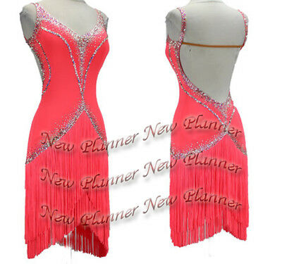 L725 Ballroom Rhythm salsa Latin samba swing dance dress UK10 fringes