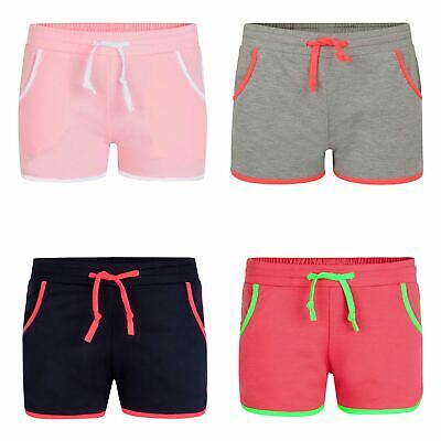 Kids Pipping Details Bottoms Girls Colourful Running Shorts Summer 3-14 Years