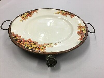 Victorian Antique Vintage Porcelain Copper Food Warmer Server Hot Water
