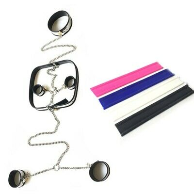 Bondage Set Kit Chastity Device Sexy Neck Collar Handcuffs Shackles Ankle Cuffs