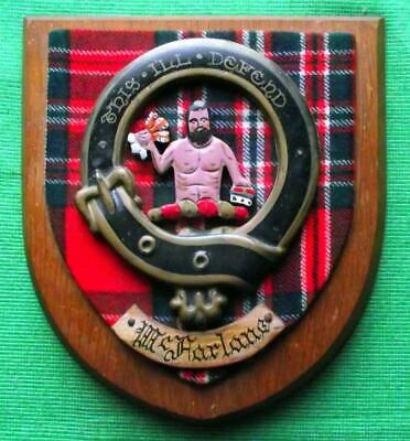 Vintage Old Scottish Carved Oak Clan MACFARLANE Tartan Plaque Crest Shield  y
