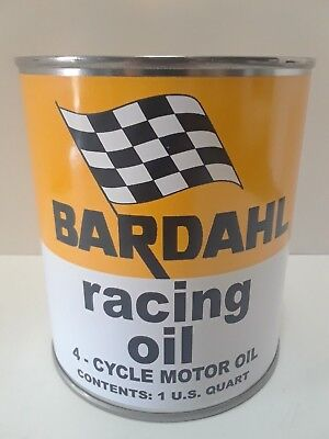 Bardahl Motor Oil Vintage Can 1 qt. - (Reproduction Tin Collectible)  Racing Oil