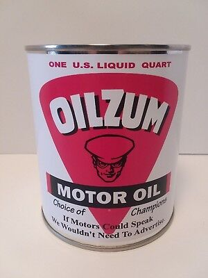 Vintage Oilzum Motor Oil Can 1 qt. -  ( Reproduction Tin Collectible )