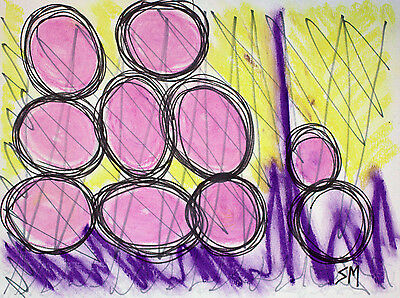 """DRAWING ON PAPER SIGNED w/ OIL PASTEL AND MARKER """"Pink Eggs"""", private collection"""