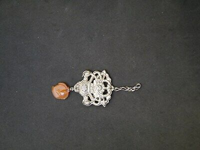 Antique Chinese Qing Dynasty Silver Vase & Flowers Charm Or Pendant W/ Carnelian