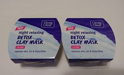 TWO PACK CLEAN & CLEAR NIGHT RELAXING DETOX CLAY MASK 1.7 Ounce Each