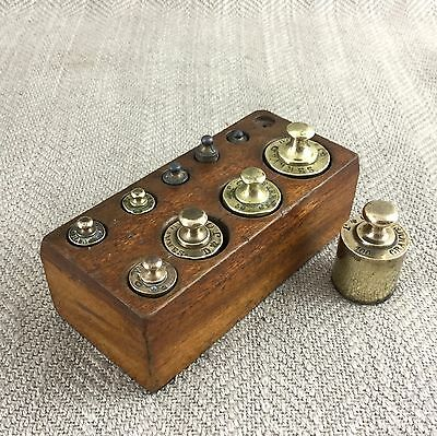 Antique Brass Weights Post Apothecary Set French Wooden Block