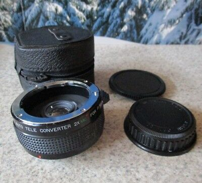Quantaray 7 Element Auto Tele Converter 2X MC P/K Japan Camera Lens w/Cover Case