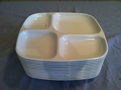 (12) Quadrille 4 Compartment Serving Trays (White) 1 Dozen # P-38