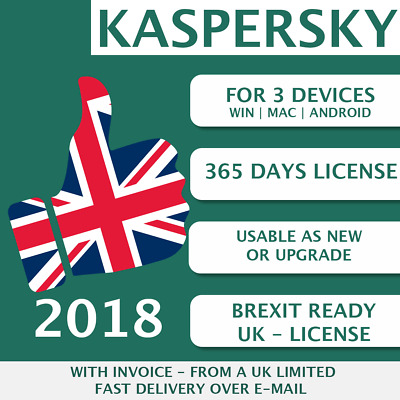 Kaspersky Internet Security 2018 UK [3 PC, 3 Devices, 3 User  - KEY - ESD]