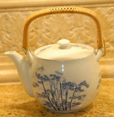 "JAPAN TEAPOT BAMBOO CLEAN INSIDE VINTAGE UNUSED PORCELAIN 4.5"" H x 6.5"" L VGC"