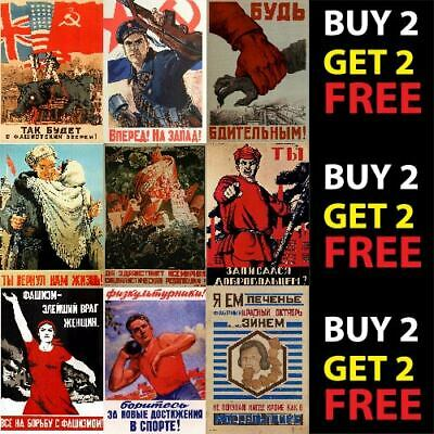 Vintage Russian Soviet Union Propaganda World War Ww2 A4 A3 Posters 250Gsm