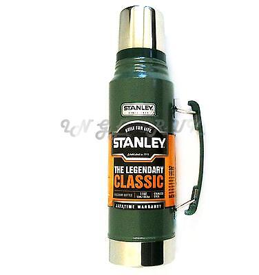 Green Stanley 1 LITRE Drinks Thermos Vacuum Flask Stainless Steel Classic Metal