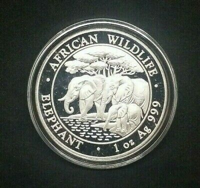 "2013 Somalia Elephant ""African Wildlife"" 1 oz .999 Fine Silver Proof Coin"