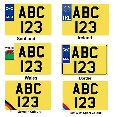 White Yellow Pair Square Show Plates Number Flag EU Ireland Scotland Wales BMW