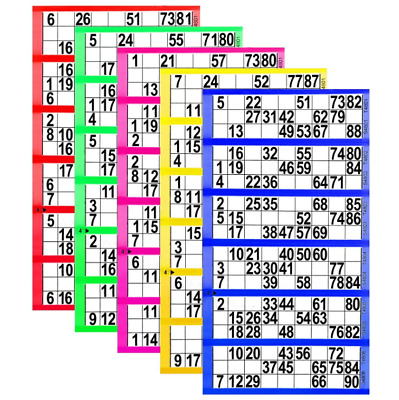 750 X Bingo Flyers,Pad Of 750 Tickets 6 To View, All Colours Jumbo Brand