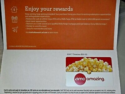 $50 AMC Physical Gift Card -REDUCED