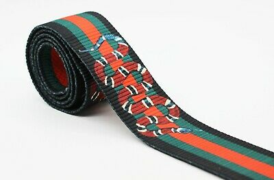 Gucci style, Black Green Red Striped Ribbon Trim, Double Faced, Snake Ribbon