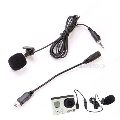External Microphone Clip On Mic Cable Adapter For GoPro Hero 4/3 Accessories