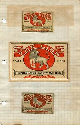 Circa 1900 Match Box Labels The Lion Made In Japan