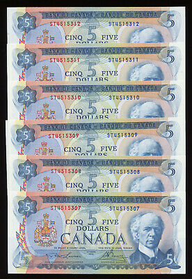 1972 Bank of Canada $5 - Lot of 6 Consecutive Uncirculated Notes