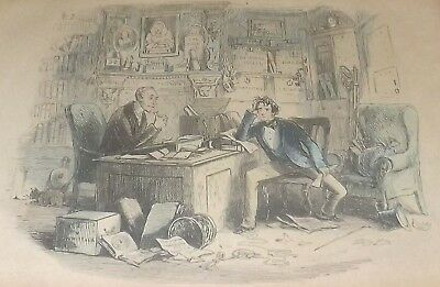 """Antique Legal Satire Steel Engraving """"The Bramptons"""" Lawyers Madden case load"""