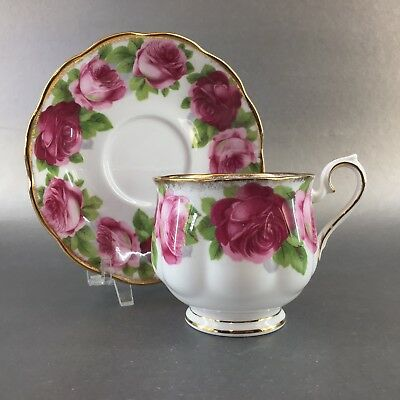 Royal Albert Old English Rose Bone China Tea Cup & Saucer England Avon Teacup