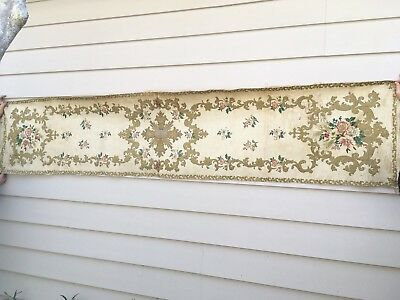 Large Antique Silk Brocade Church Altar Frontal or Runner, 18th C French 8.3 Ft