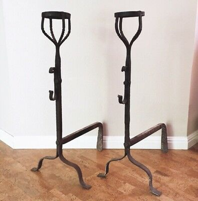 Antique French Wrought Iron Cresset Cup Andirons Firedogs 17th-18th C Primitive