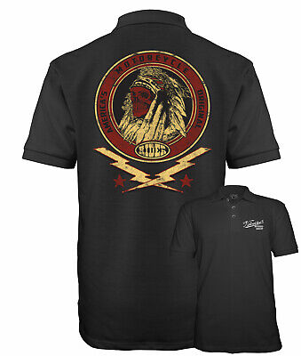 Velocitee Mens Polo Shirt Native Indian America's Motorcycle Biker A17779
