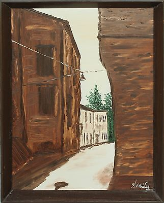 """""""Hot summer"""" (In Italy) Oil painting fiberboard with Frame pleasant atmosphere"""